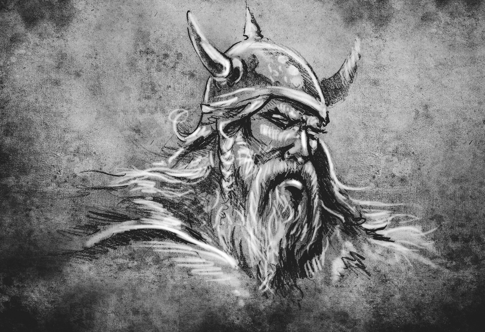 Black and white drawing of a viking male from the chest up.